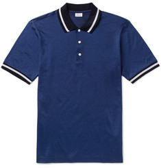 Brioni - Slim-Fit Contrast-Tipped Cotton and Silk-Blend Piqué Polo Shirt