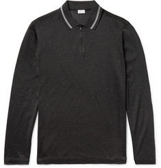 Brioni - Cotton and Silk-Blend Piqué Half-Zip Polo Shirt