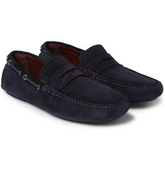 Brioni - Leather-Trimmed Suede Driving Shoes