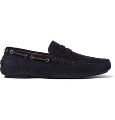Brioni Leather-Trimmed Suede Driving Shoes