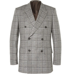 Kingsman Grey Slim-Fit Double-Breasted Checked Wool Suit Jacket