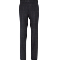 Kingsman - Blue Windowpane-Checked Wool Suit Trousers