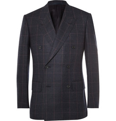 Kingsman Blue Slim-Fit Double-Breasted Windowpane-Checked Wool Suit Jacket