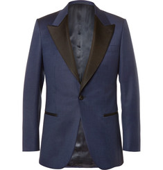 Kingsman Blue Slim-Fit Faille-Trimmed Checked Wool Tuxedo Jacket