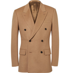 Kingsman Sand Slim-Fit Double-Breasted Baby Camel Hair Blazer