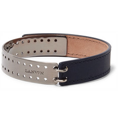 Lanvin Leather Gunmetal-Tone Bracelet