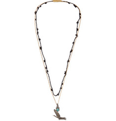Lanvin Bead, Stone and Brass Macramé Necklace