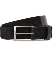 Lanvin - 3cm Patent Leather-Trimmed Suede Belt