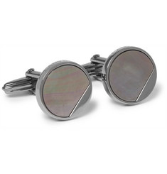 Lanvin Gunmetal-Tone Mother-of-Pearl Cufflinks