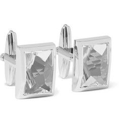 Lanvin Rhodium-Plated Crystal Cufflinks