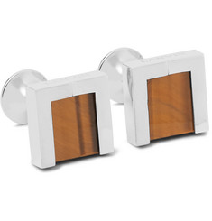 Lanvin Rhodium-Plated, Tiger's Eye and Onyx Cufflinks