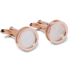 Lanvin Interchangeable Rose Gold-Plated Mother-of-Pearl and Onyx Cufflinks