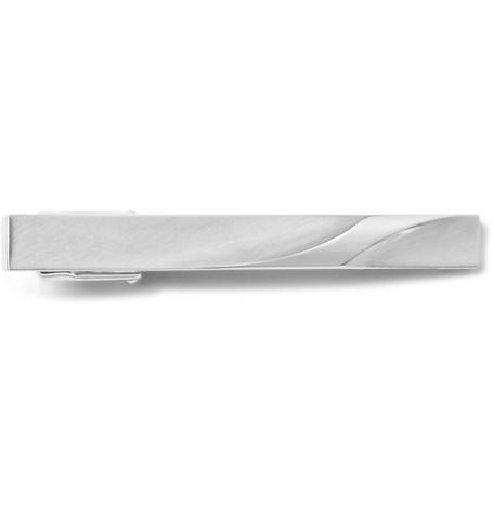 lanvin male lanvin brushed silvertone tie clip silver