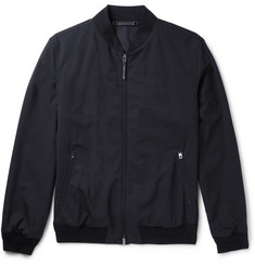Ermenegildo Zegna Leather-Trimmed Trofeo Wool Bomber Jacket
