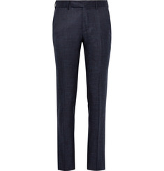 Ermenegildo Zegna Blue Slim-Fit Slub Silk, Cashmere and Linen-Blend Suit Trousers