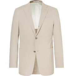 Ermenegildo Zegna Beige Slim-Fit Stretch Cotton and Cashmere-Blend Suit Jacket