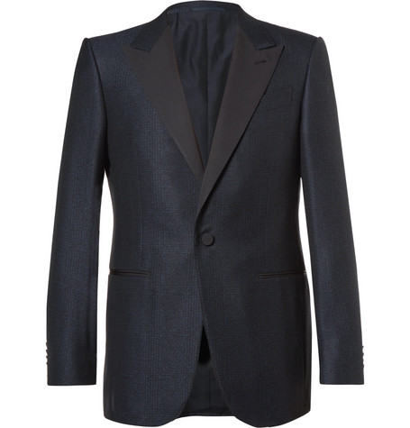Blue Slim Fit Prince Of Wales Checked Wool And Cotton Blend Tuxedo Jacket by Ermenegildo Zegna