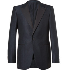 Ermenegildo Zegna - Blue Slim-Fit Prince of Wales Checked Wool and Cotton-Blend Tuxedo Jacket