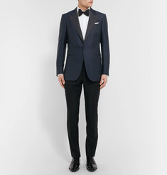 Ermenegildo Zegna Blue Slim-Fit Prince of Wales Checked Wool and Cotton-Blend Tuxedo Jacket