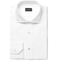 Ermenegildo Zegna White Cutaway-Collar Cotton Shirt