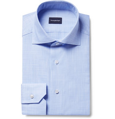 Ermenegildo Zegna - Blue Slim-Fit Cutaway-Collar End-On-End Cotton Shirt