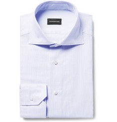 Ermenegildo Zegna - Blue Slim-Fit Cutaway-Collar Broken-Pinstriped Cotton Shirt