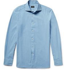 Ermenegildo Zegna Slim-Fit Spread-Collar Washed-Denim Shirt