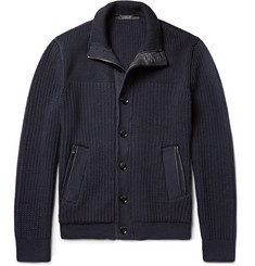 Ermenegildo Zegna - Leather-Trimmed High Performance Wool Zip-Up  Cardigan