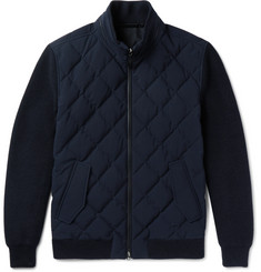 Ermenegildo Zegna Leather-Trimmed Quilted Wool and Wool-Blend Down Jacket