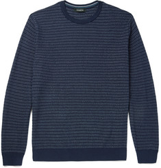 Ermenegildo Zegna Striped Textured Cotton and Silk-Blend Sweater
