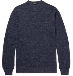 Ermenegildo Zegna Mélange Cashmere, Silk and Linen-Blend Sweater