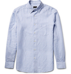 Ermenegildo Zegna Slim-Fit Button-Down Collar Gingham Cotton and Linen-Blend Shirt
