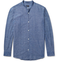 Ermenegildo Zegna Slim-Fit Grandad-Collar Cotton-Chambray Shirt