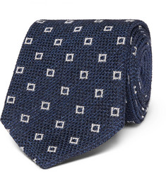 Ermenegildo Zegna 8cm Patterned Textured Silk-Blend Tie