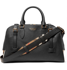 Burberry - Checked Twill-Panelled Full-Grain Leather Holdall