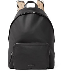 Burberry Checked Twill-Trimmed Shell Backpack
