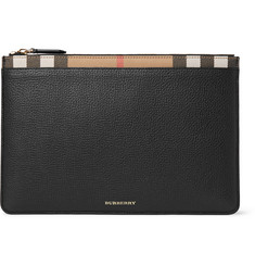 Burberry Full-Grain Leather and Checked Cotton-Twill Pouch