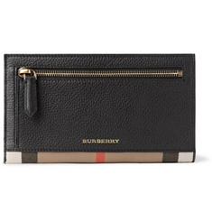 Burberry Checked Twill-Trimmed Full-Grain Leather Travel Wallet