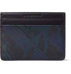 Burberry Leather-Trimmed Faux Textured-Leather Cardholder