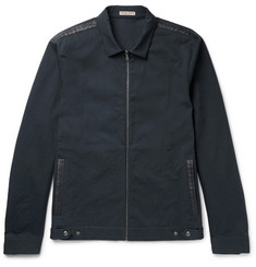 Bottega Veneta Intrecciato Leather-Trimmed Cotton-Twill Bomber Jacket