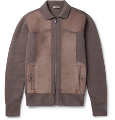 Bottega Veneta Suede-Panelled Wool Bomber Jacket