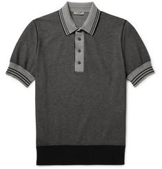 Bottega Veneta - Contrast-Tipped Knitted Cotton Polo Shirt