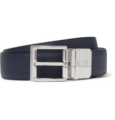 Dunhill - 3cm Blue and Black Reversible Leather Belt