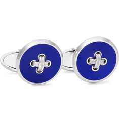 Dunhill - Button Sterling Silver Enamel Cufflinks