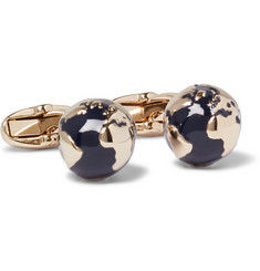 Paul Smith Globe Gold-Tone Enamel Cufflinks