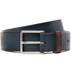 Paul Smith 3cm Blue Burnished-Leather Belt
