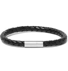 Paul Smith Braided Leather and Stainless Steel Bracelet