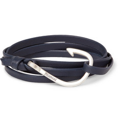 Miansai Hook Grained-Leather Silver-Plated Wrap Bracelet