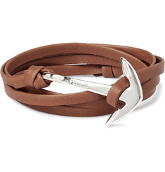 Miansai Leather and Silver-Plated Anchor Wrap Bracelet