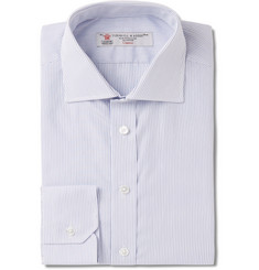 Turnbull & Asser Blue Slim-Fit Pinstriped Cotton Shirt